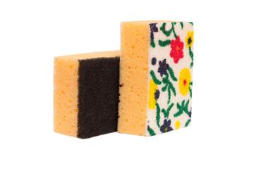 Kitchen sponge for washing dishes. Isolated on white background