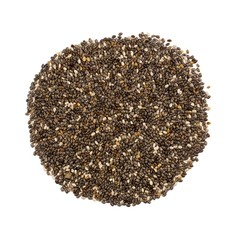 Pile of chia seeds isolated on a white background, overhead view