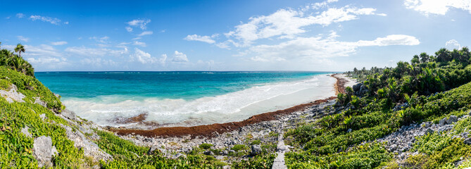 Panorama of Tulum beach view, caribbean paradise, at Quintana Ro