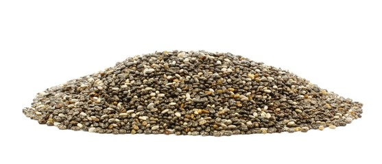 Pile of chia seeds isolated on a white background, side view