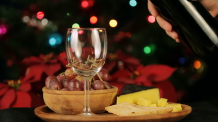 Serving Wine Christmas Theme Slow Motion