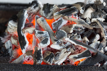 Close-up of burning charcoal