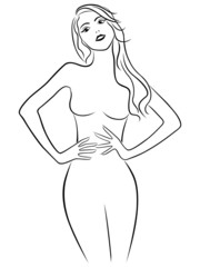 Attractive girl holding hands on waistline