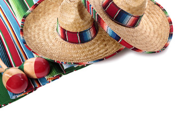 Mexican blanket and sombreros