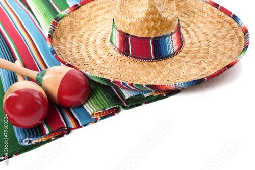 Deurstickers Mexico Mexican blanket and sombrero