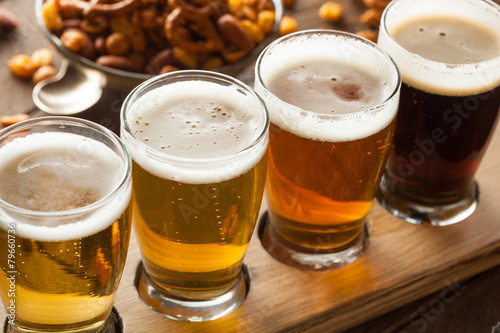 Assorted Beers in a Flight