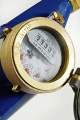 detail of water meter on white