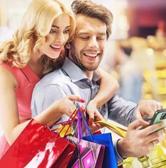 Young couple enjoying the shopping