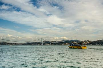 tourist ship visiting Bosphorus Bridge Istanbul Turkey