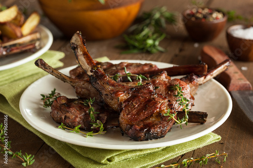 Foto op Canvas Vlees Organic Grilled Lamb Chops