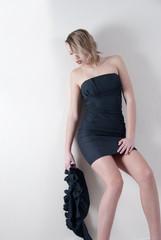 Indoor shoot of a model in a black dress