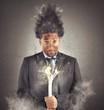 Leinwanddruck Bild - Businessman electrocuted