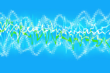 Abstract background of squiggly lines against light blue