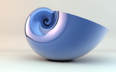 golden spiral shell blue
