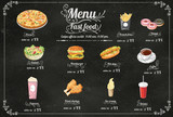 Restaurant Fast Foods menu on chalkboard vector format eps10 - 79662552