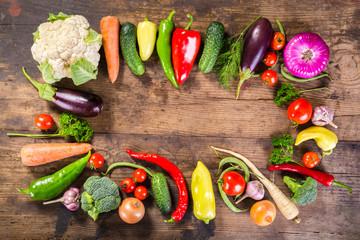 plenty of vegetables on wooden table