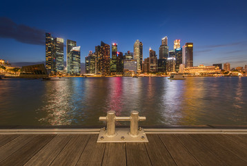 Financial Building in Marina Bay, Singapore with twilight sky