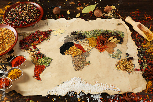 Fotobehang Kruiden 2 Map of world made from different kinds of spices