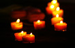 Romantic atmosphere with candle lights and flowers