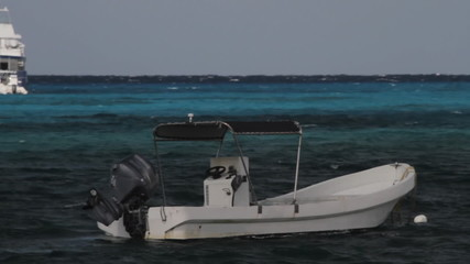 Motorboat in Caribbean Sea