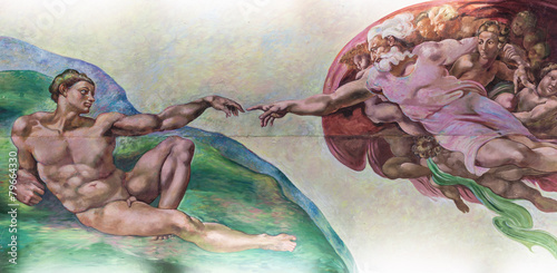 Leinwandbild Motiv BANGKOK THAILAND - FEBRUARY 28 : The creation of Adam or God's t