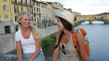 Friends on travel in Florence - girlfriends
