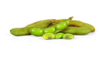 Fresh harvested soybean (edamame) plant isolated on white backgr
