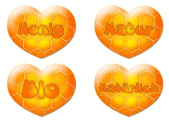 Honig Herzen / Honigwabe / Bio / Natur / Natürlich