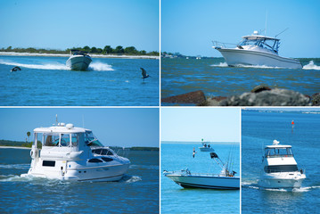 Extra large format boating montage of many styles of boats