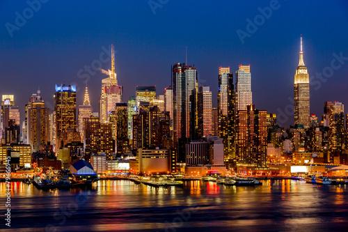 Quadro new york city night skyline manhattan buildings midtown