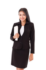 business woman holding computer tablet or touchpad