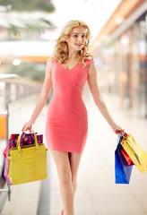 Marvelous lady walking with shopping bags