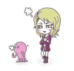 怒る女の子とタコ