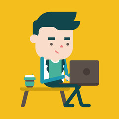 Character illustration design. Businessman using computer cartoo