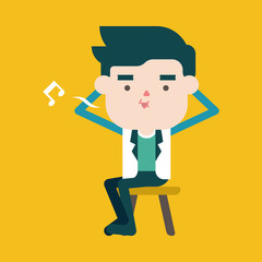 Character illustration design. Businessman joyful cartoon