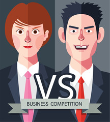 Flat characters of competition people concept illustrations