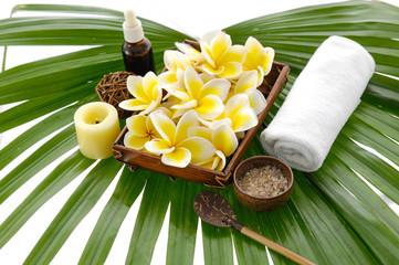 health spa setting on mat