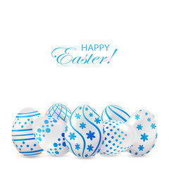Easter eggs with blue decoration