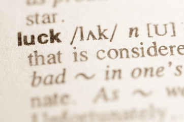 Dictionary definition of word luck