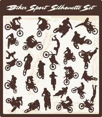 Biker Silhouettes Vector Clipart, Motor Sport, Vinyl-Ready