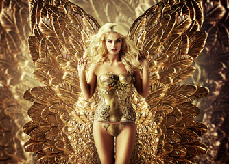 Blond tempting woman with the golden wings