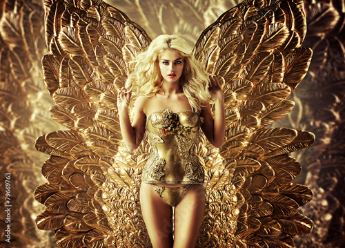 Blond tempting woman with the golden wings - 79669763
