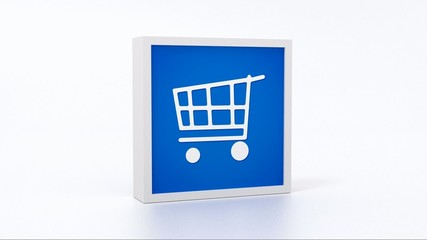 blue shopping sign