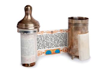 Torah scroll with case
