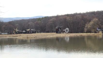 Wind Mills near Lake