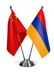 China and Armenia - Miniature Flags.