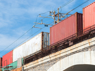 Containers on a freight train