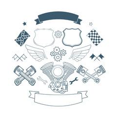 Set of biker label vector elements