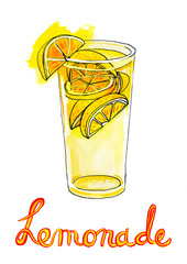 Watercolor Illustration of refreshing glass of lemonade