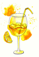 Splattered watercolor painting of refreshing glass of yellow